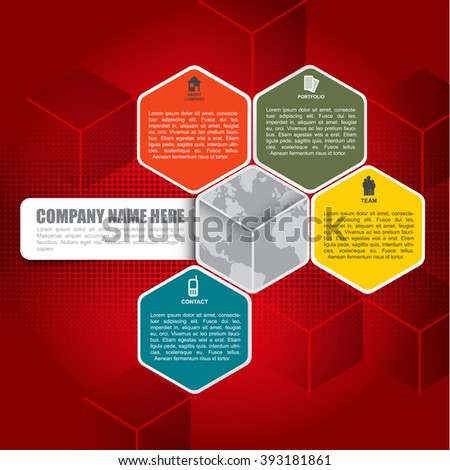 Abstract vector red infographic background with icons about company, portfolio, team, contact and place for text content - stock vector
