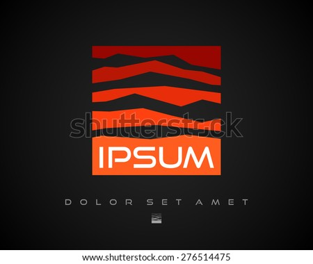 Abstract Vector Red Logo Design Template on Black Background. Creative Square Concept Icon. Mountain Symbol - stock vector
