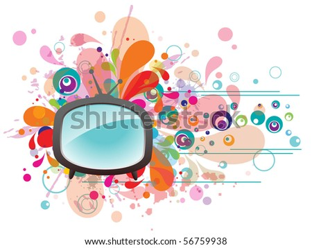 abstract vector red retro tv set
