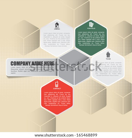 Abstract vector retro infographic background with icons about company, portfolio, team, contact and place for content - stock vector