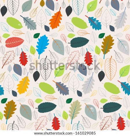 Abstract Vector Retro Seamless Pattern - Autumn Leaves  - stock vector