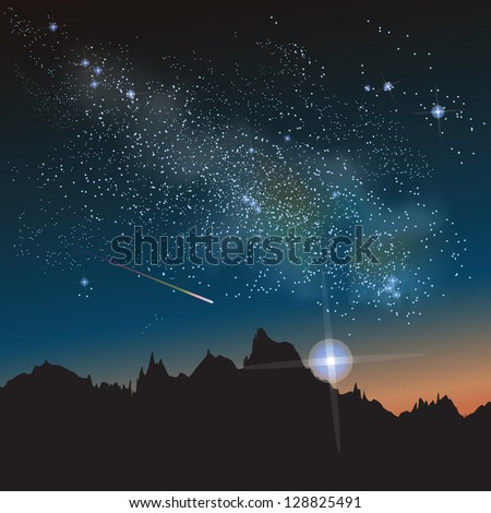 Abstract vector science image of the Milky Way with the Constellation. - stock vector