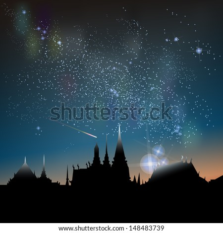Abstract vector science image of the Milky Way with the Constellation over Bangkok City icon. - stock vector