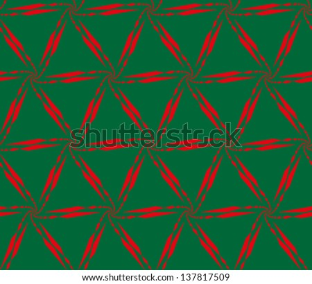 Abstract vector seamless black and white lattice pattern, made of diminishing and curl chain of red quadrangles on green background. - stock vector