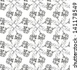Abstract vector seamless black and white pattern of symmetry scribble - stock vector