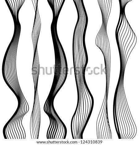 Abstract vector seamless black and white pattern with waves, urban theme design element. - stock vector