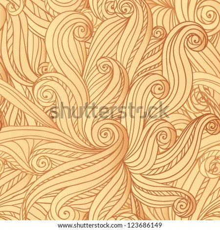 Abstract vector seamless hand-drawn light hair or waves pattern - stock vector