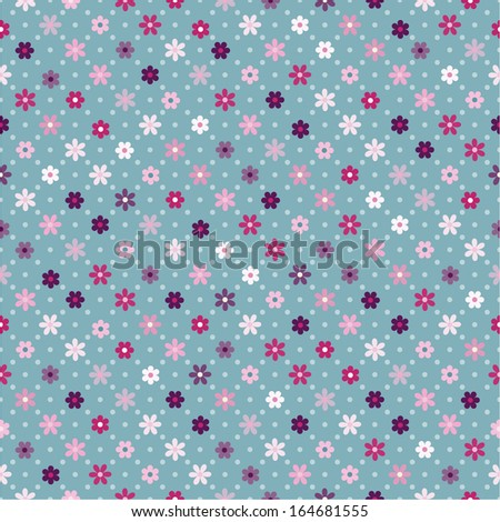 Abstract vector seamless pattern background with  small flowers - stock vector
