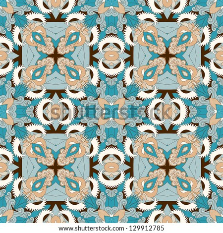 Abstract vector seamless pattern. Floral damask ornament. Easy to change colors. - stock vector