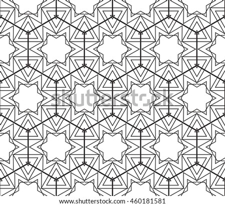 Abstract Vector seamless pattern with complex triangle style. Repeating sample figure and line. For modern interiors design, wallpaper, textile industry - stock vector