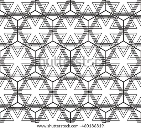 Abstract Vector seamless pattern with complex triangle style. Repeating sample figure and line. For modern interiors design, wallpaper, textile industry
