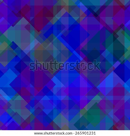 Abstract vector seamless pattern with crossed squares in blue colors - stock vector