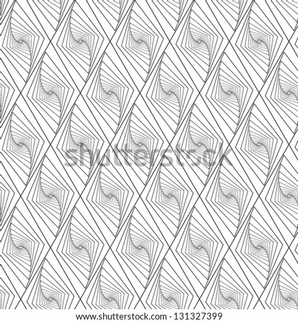 Abstract vector seamless pattern with diminishing and rotating rhombus