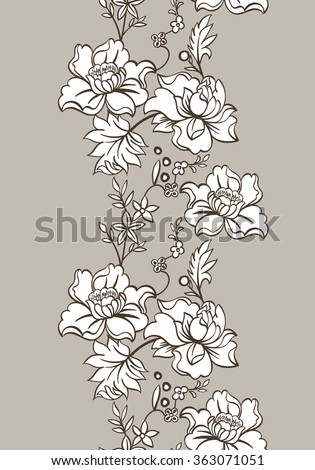 Abstract vector seamless pattern with lace flowers. Seamless texture with flowers.