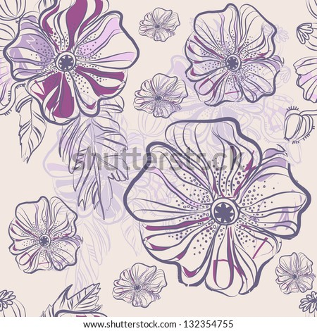 Abstract vector seamless texture with bright drawing flowers -- poppies. Vector illustration. - stock vector