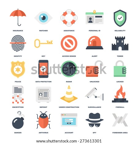 Abstract vector set of colorful flat security and protection icons. Creative concepts and design elements for mobile and web applications. - stock vector