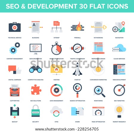 Abstract vector set of colorful flat SEO and development icons. Creative concepts and design elements for mobile and web applications. - stock vector