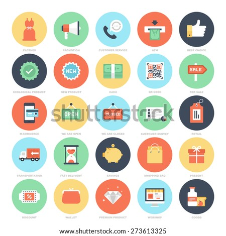 Abstract vector set of colorful flat shopping and commerce icons. Creative concepts and design elements for mobile and web applications. - stock vector