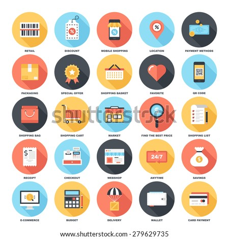 Abstract vector set of colorful flat shopping and commerce icons with long shadow. Creative concepts and design elements for mobile and web applications. - stock vector