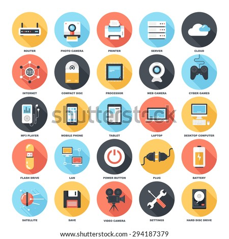 Abstract vector set of colorful flat technology and hardware icons with long shadow. Creative concepts and design elements for mobile and web applications. - stock vector