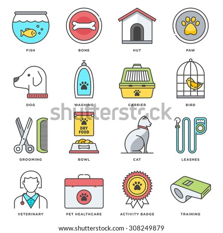Abstract vector set of line color icons for pet food and accessories.  - stock vector