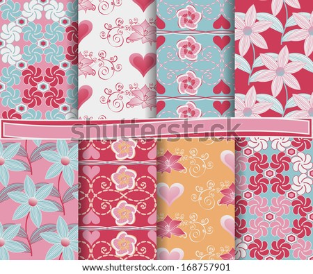 Abstract vector set of paper for scrapbook Valentine's Day