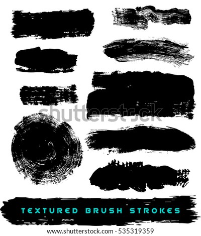 Abstract Vector set of textured brush strokes, black paint, grunge, isolated on white background