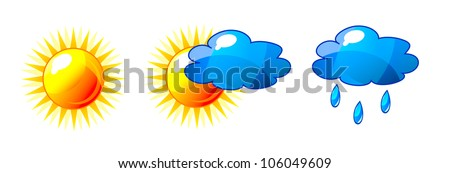 Abstract vector shiny sun and cloud icons with reflection. Isolation over white background. - stock vector