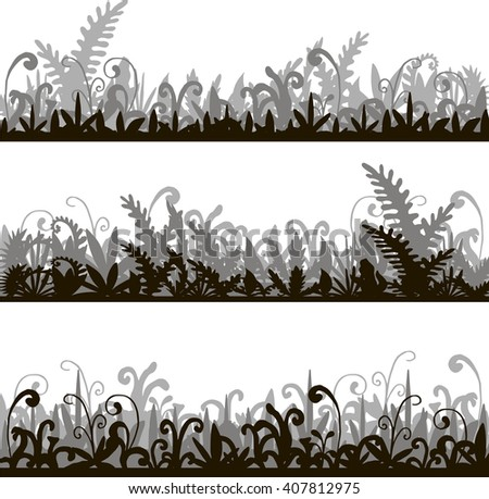 abstract vector silhouettes landscapes with grass green jungle vegetation, cartoon wild herbs, jungle vegetation, hand drawn vector background - stock vector