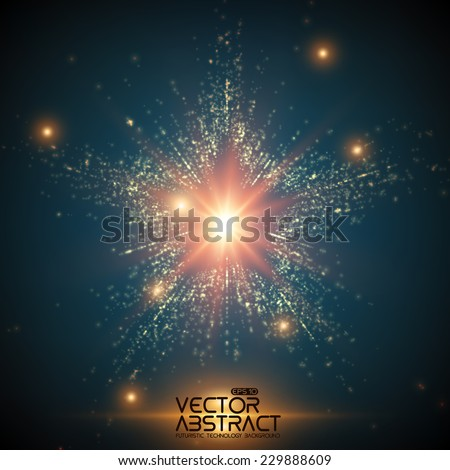 Abstract vector space background. Explosion of glowing particles. Christmas star. Futuristic technology style. Elegant background for business presentations or gift cards.EPS10 - stock vector