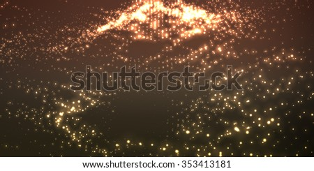 Abstract vector space background. Explosion of glowing particles. Futuristic technology style. Elegant background for business presentations. - stock vector