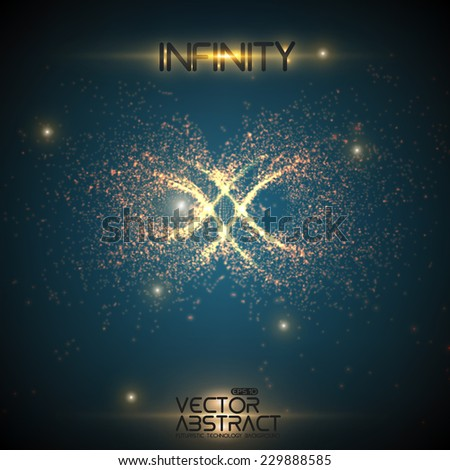 Abstract vector space background. Explosion of glowing particles. Infinity sign. Futuristic technology style. Elegant background for business presentations or gift cards.EPS10 - stock vector