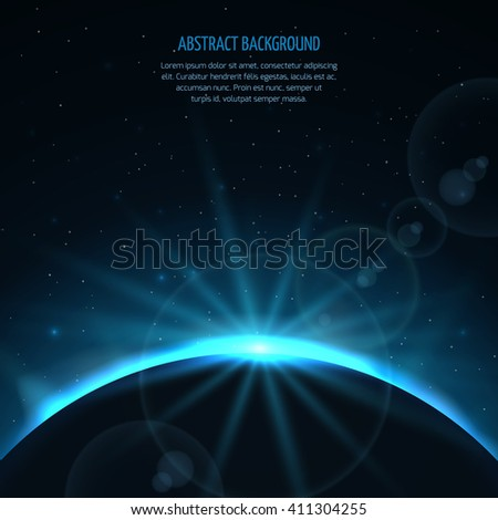 Abstract vector space fantastic background with planet and rising star. Planet and star sun, earth in galaxy sun rising, ray rising sun illustration - stock vector