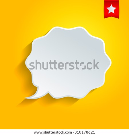 Abstract vector speech bubble on the yellow background.  - stock vector
