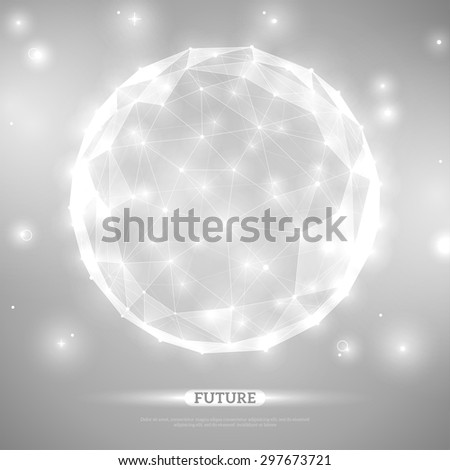 Abstract vector sphere. Futuristic technology wireframe mesh polygonal element. Connection Structure. Geometric Modern Technology Concept. Digital Data Visualization. Social Network Graphic Concept - stock vector
