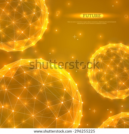 Abstract vector spheres. Futuristic technology wireframe polygonal elements. Connection Structure. Geometric Modern Technology Concept. Digital Data Visualization. Shining scientific background. - stock vector