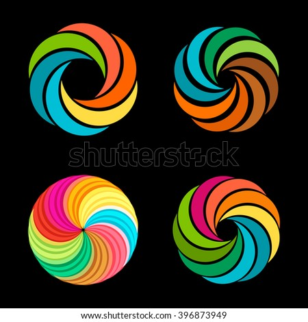 Abstract vector spiral tornado set of logos. Designed collection of photo signs. Colorful graphic flowers. Summer sun images. Sliced fruit. Warm colors. - stock vector
