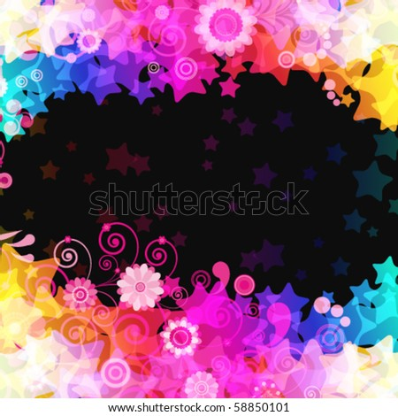 Abstract vector stars background with flowers