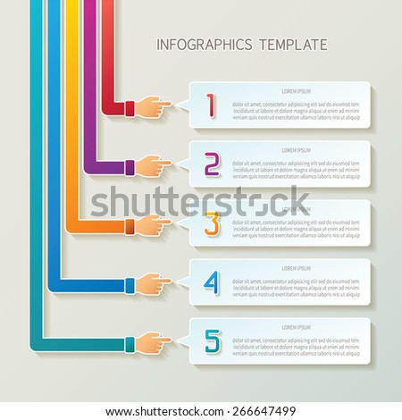 Abstract vector 5 steps infographic template in 3D style for layout workflow scheme, numbered options, chart or diagram - stock vector