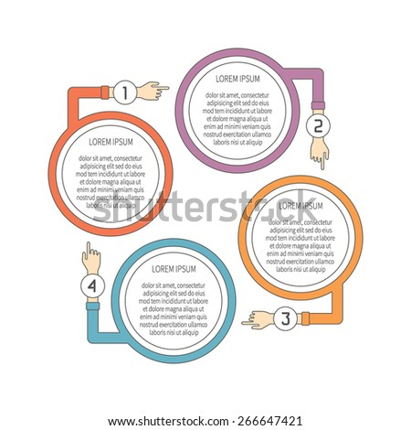 Abstract vector 4 steps infographic template in flat outline style for layout workflow scheme, numbered options, chart or diagram