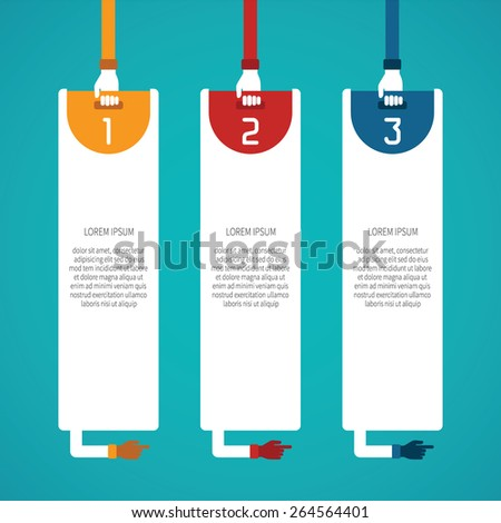 Abstract vector 3 steps infographic template in flat style for layout workflow scheme, numbered options, chart or diagram - stock vector