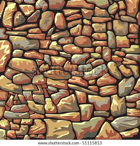 Abstract vector stone wall - stock vector