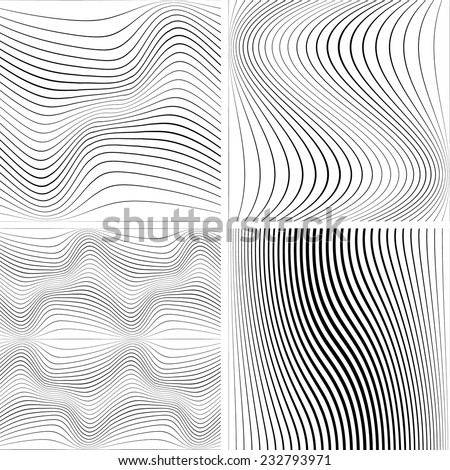 Abstract Vector Striped Background. Black and White Stripes Texture Collection . Wave Stripes . Horizontal Curved Lines . - stock vector