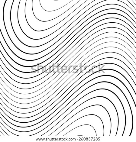 Abstract Vector Striped Background. Black and White Stripes . Wave Stripes . Horizontal Curved Lines . - stock vector