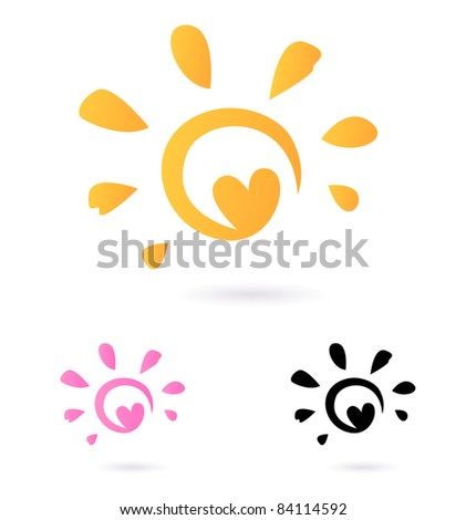 Abstract vector Sun icon with Heart -  orange & pink, isolated on white Vector Sun sign or icon isolated on white background. - stock vector