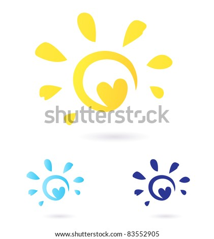 Abstract vector Sun icon with Heart -  yellow & blue, isolated on white Vector Sun sign or icon isolated on white background. Yellow and blue color variants - stock vector