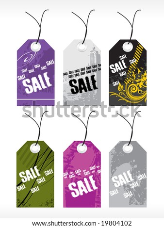 abstract vector tag series set