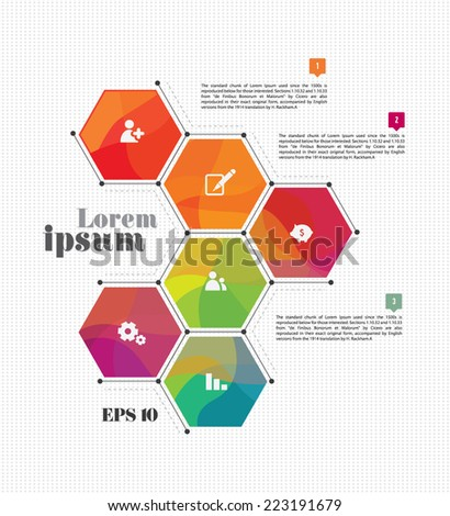 Abstract vector template design, brochure,  page, leaflet, with colorful polygon backgrounds, logo and text separately.  - stock vector
