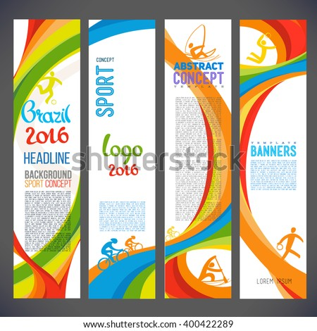 Abstract vector template design, brochure, Web sites, page, leaflet, with colored lines and waves, logo and text separately. Sport concept banners. Brazil 2016 - stock vector