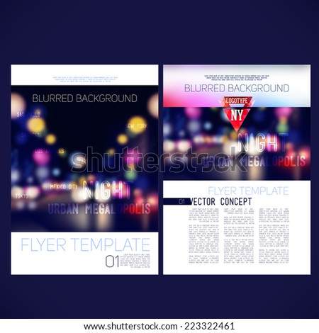 Abstract vector template design flyer, brochure, Web sites, page, leaflet, with colorful blur backgrounds city ??at night, logo and text separately. - stock vector
